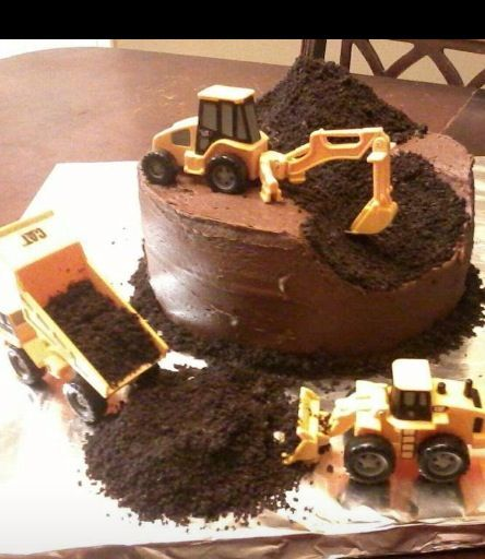 Construction Cake Use Crushed Oreo As The Dirt And Place