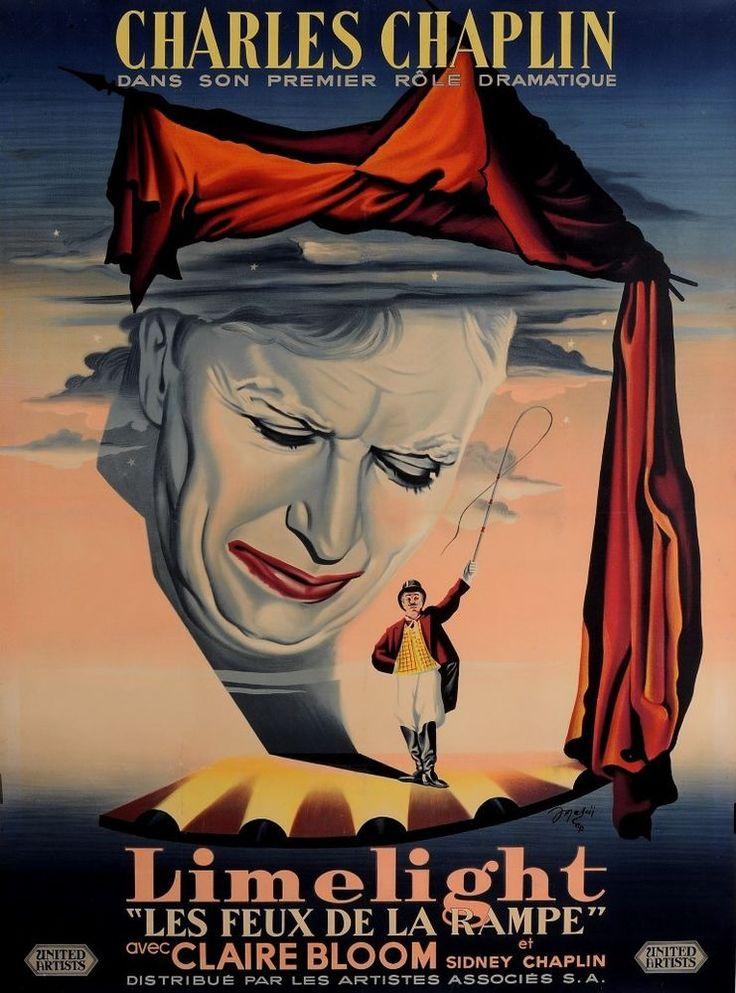 """Original Charlie Chaplin Movie Poster """"Limelight"""" by Jean Mascii 1952"""