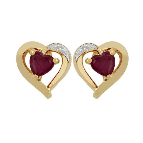 Gemondo Ruby Heart Stud Earrings, 9ct Yellow Gold 0.25ct Genuine Ruby & Diamond Heart Earrings