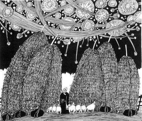 Художник Побережный Юрий. Рисунок Звездный дождь. 22х25 бумага тушь перо