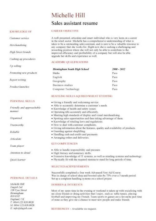 A Resume Written From The Perspective Of A Student Who Has Little Or No  Work Experience And Who Is Applying For A Sales Assistant Vacancy.