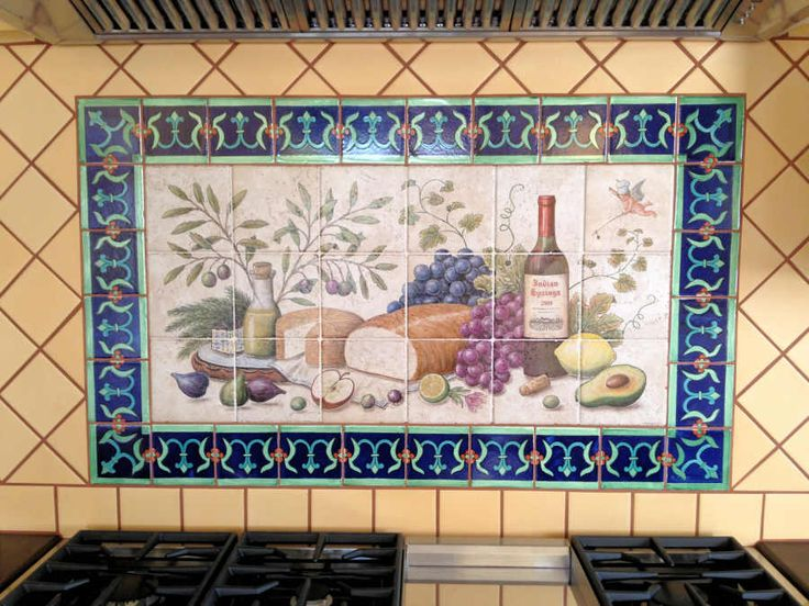 Allison 39 s lyman 39 s cherub wine and cheese food art for Custom mural tiles