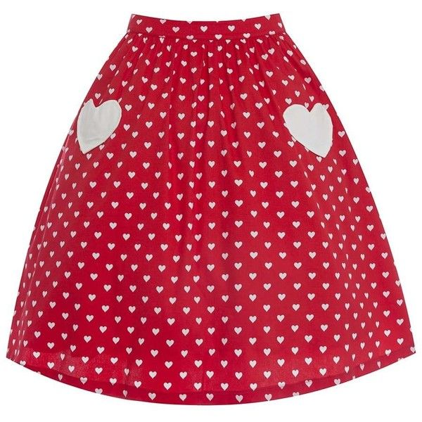 'Bernadette' Red Heart Print Swing Skirt ($34) ❤ liked on Polyvore featuring skirts, red, red cotton skirt, heart print skirt, red flared skirt, cotton skirts and swing skirts