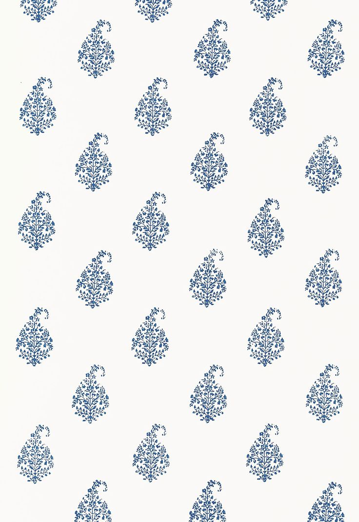 Schumacher 'Kerala Paisley' in Delft - Hand Blocked Wallpaper - white with blue paisley