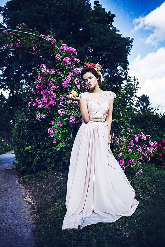 Coffee Shade Wedding Dress With Flowing Silk Skirt By CathyTelle