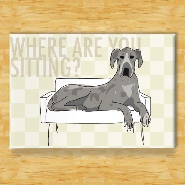 Blue Merle Great Dane Dog Breed Magnet Couch Hog by PopDoggie