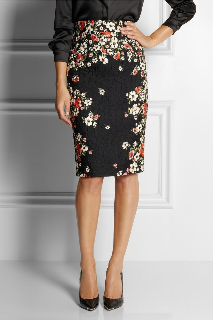 Dolce  Gabbana|Floral-print jacquard skirt|NET-A-PORTER.COM