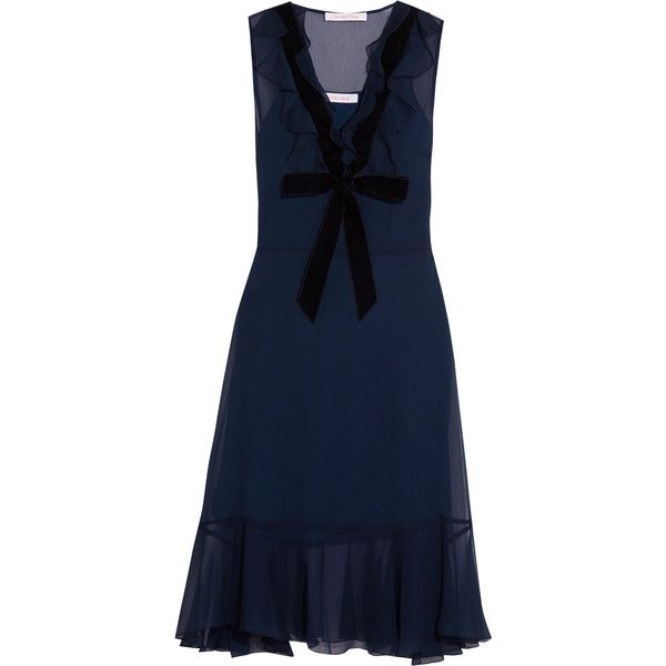 See by Chloé Velvet-trimmed ruffled chiffon dress ($285) ❤ liked on Polyvore featuring navy, night out dresses, holiday party dresses, blue ruffle dress, flounce dress and ruffle cocktail dress