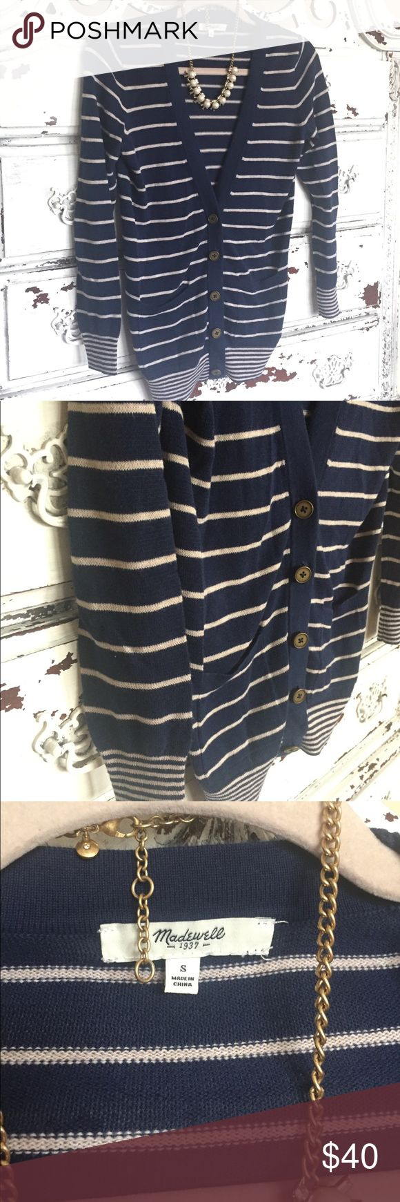 Madewell navy striped preppy nautical cardigan Classic! Madewell Sweaters Cardigans
