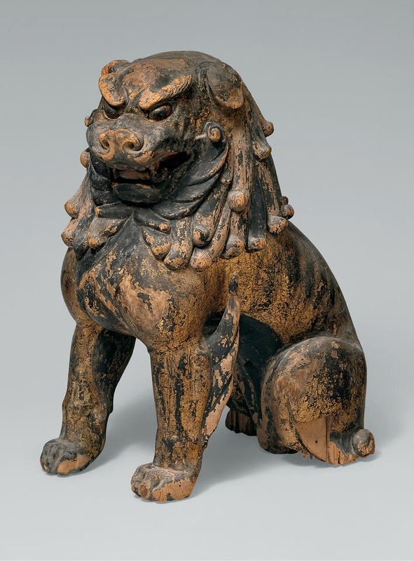 Guardian Lion-Dogs, Japan, Kamakura period (1185–1333), mid-13th century. Japanese cypress with lacquer, gold leaf, and color. a: H. 16 3/4 in. (42.5 cm); b: H. 18 in. (45.7 cm). Mary Griggs Burke Collection, Gift of the Mary and Jackson Burke Foundation, 2015; 2015.300.257a, b © 2000–2016 The Metropolitan Museum of Art.