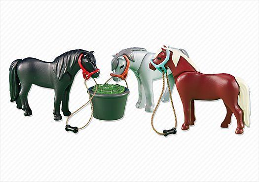 (Emma) 3 Ponies with Feeding Bucket - PLAYMOBIL® USA