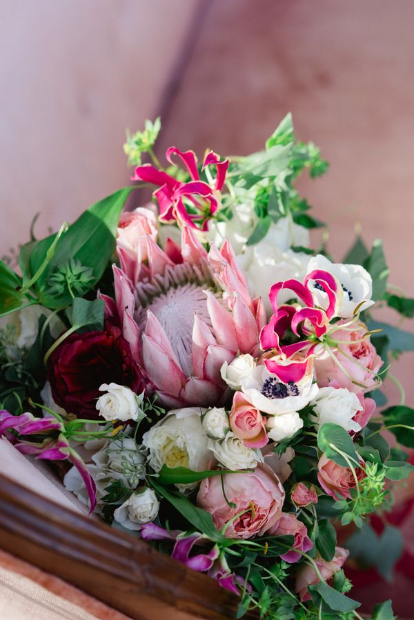 Vintage blush pink and fuchsia bouquet