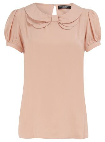 Dorothy Perkins  Blush layered bow collar top