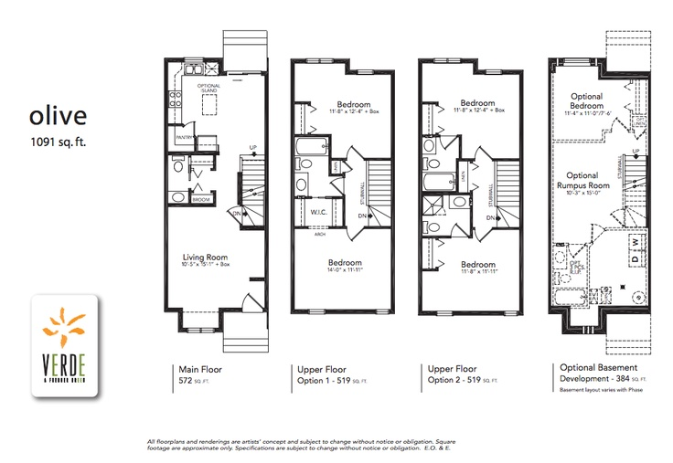 'Olive' floorplan model at Verde in Clearview. 1091 sq.ft.    - Optional lower level development adds 349 square feet.  - 2 bedroom double master each with en-suite or one with walk-in closet and cheater en-suite.  - Large U-shaped kitchen with patio doors leading to the private back yard.