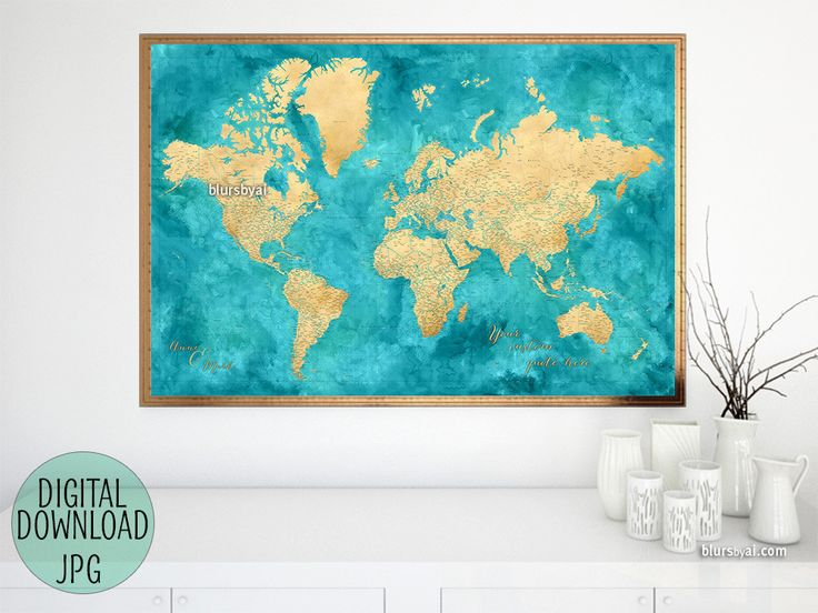 Custom quote - gold and teal, highly detailed world map printable with cities, capitals, countries, US States... labeled. #CustomArtPrint #custom #CustomMapPrint #CustomPrintable #CustomMapPoster #CustomDesignedPrintable #CustomMap #CustomArtwork #CustomQuote #ArtPrint