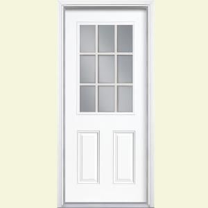 Wonderful 9 Lite Left Hand Inswing Painted Steel Prehung Front Door With Brickmold