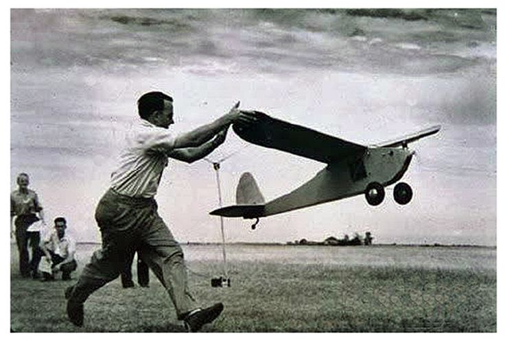 """This is Dr. Walter Good launching """"The Guff"""" at the 1939 Nationals at the Detroit Wayne County airport"""