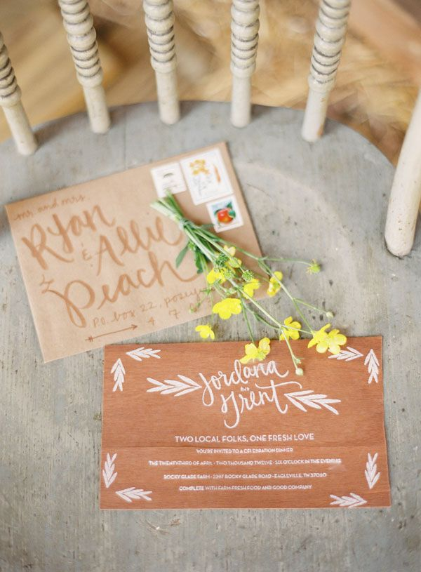 wood invites + lettering