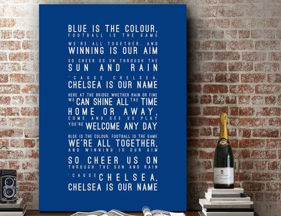 Blue is the Colour Lyrics - Chelsea FC Inspired Song Wall Art Song Lyrics Home Decor Anniversary Gift Typography Lyric PRINT