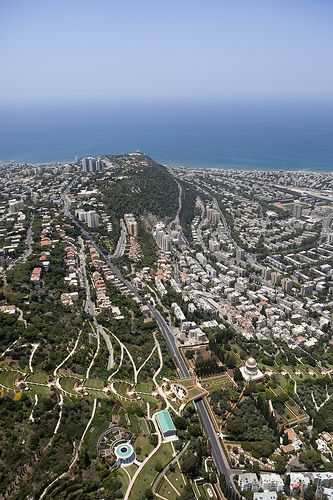 Haifa, Israel rising on Mount Carmel, above the Mediterranean harbour. It is…