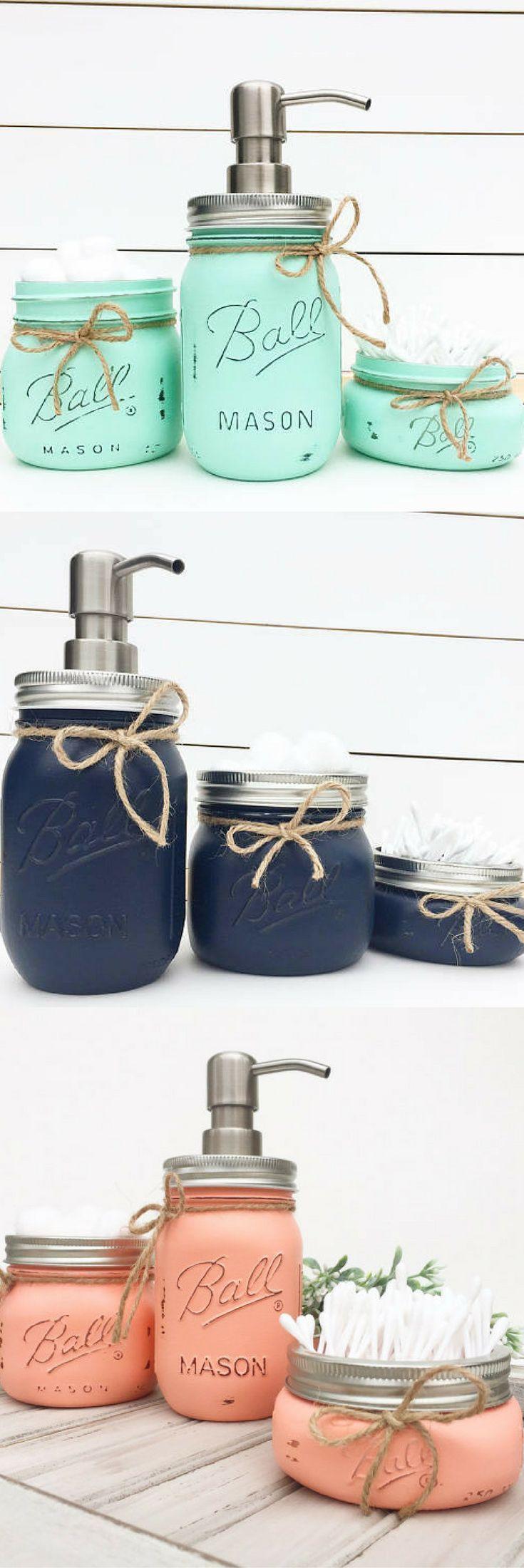 3pc. Mason Jar Bathroom Set, Rustic Bathroom, Farmhouse decor, Housewarming Gift, Bridal Shower Gift, Wedding Gift, Bathroom, Country Home #ad #affiliatelink