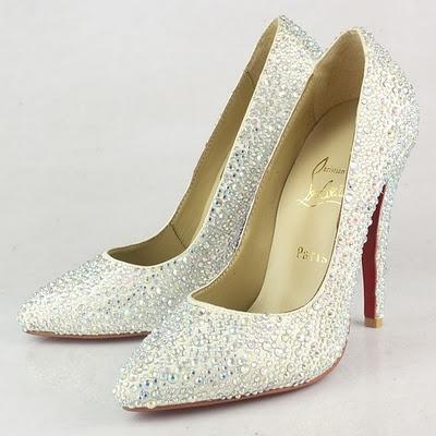 Louboutin Bridal Shoes Pigalle Glitter Pumps Satin White Dengan Material Top Grade And Str Dan Color Multi Col