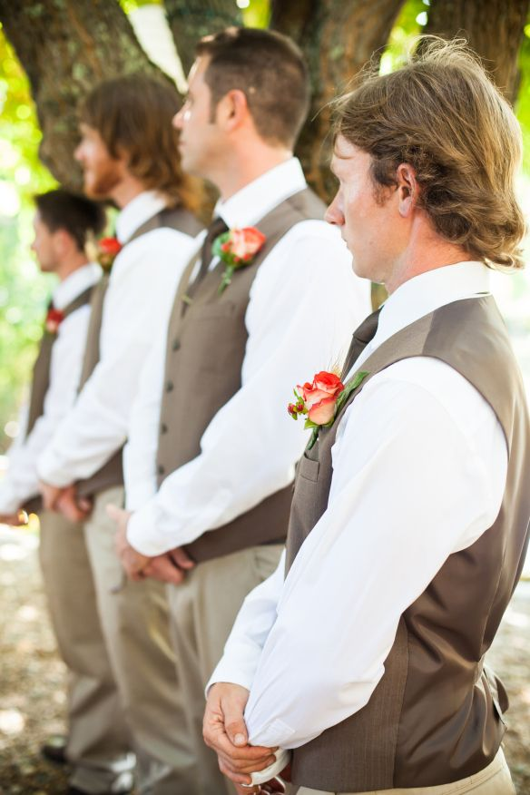 Littlehousesbigdogs.com...The groomsmen attire, khaki pants, brown vests, brown ties, white shirts