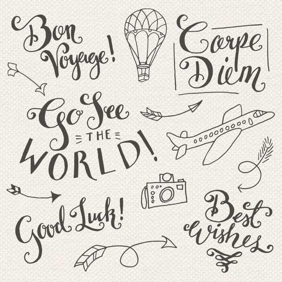 CLIP ART: Travel Photoshop Overlays // Editable Vector eps and psd // World Traveler Good Luck Best Wishes Bon Voyage // Digital Brush Stamp