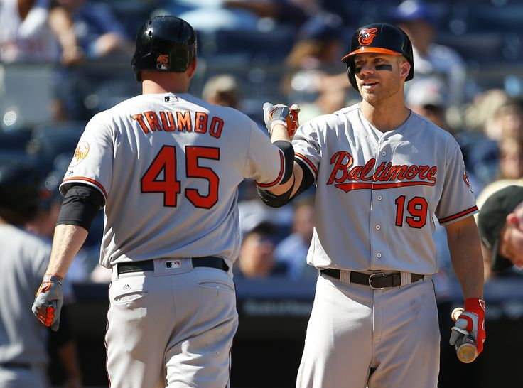 NEW YORK, NY - AUGUST 28: Mark Trumbo #45 of the Baltimore Orioles is congratulated by Chris Davis #19 after he hit a two run home run during the eighth inning of a game against the New York Yankees at Yankee Stadium on August 28, 2016 in the Bronx borough of New York City. (Photo by Rich Schultz/Getty Images)