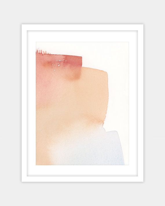 Abstract watercolor print, watercolor painting, home decor wall art original canvas painting, pale blue, peach, berry