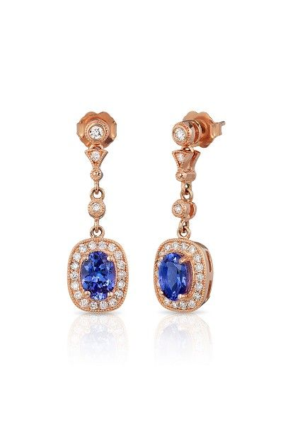 14K ROSE GOLD DIAMOND,TANZANITE EARRINGS