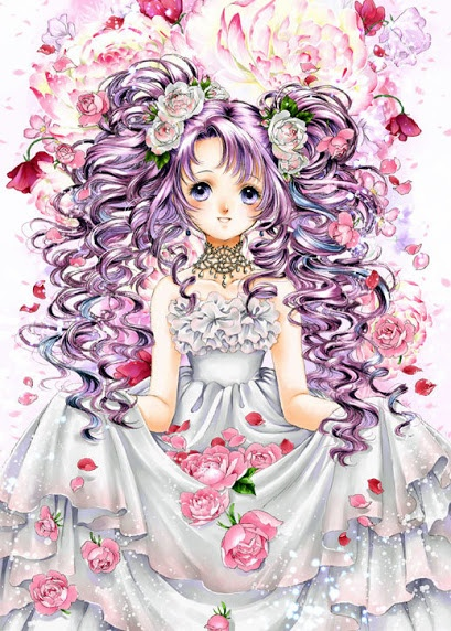 Princess With Long Curly Purple Hair In Pigtails Blue Eyes White - Anime girl hairstyle dress_flo