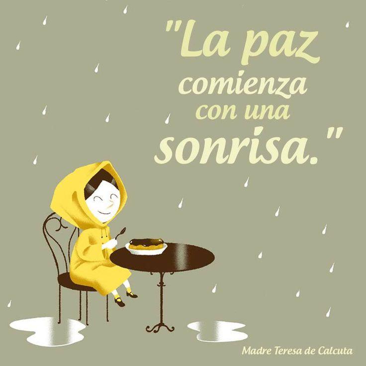 """""""La #Paz comienza con una #Sonrisa."""" #MadreTeresaDeCalcuta #Citas #Frases @Candidman"""
