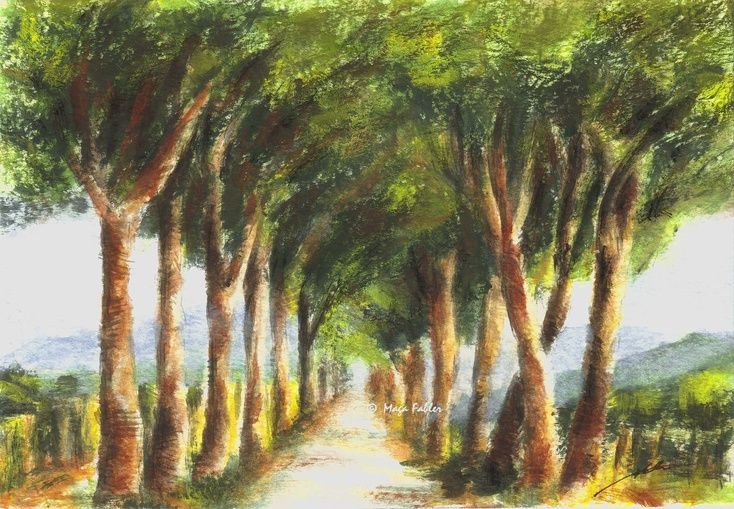 Road with Umbrella Pines, Tuscany, Italy by Maga Fabler.  Original gouache painting on watercolor paper 13x18 cm (~ 5x7 in.)