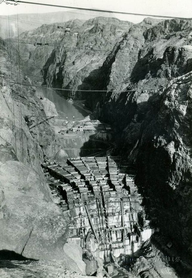 1930's...HOOVER DAM construction began in 1931 and was completed in 1936. This photo of the construction is from 1934. It was originally called Boulder Dam.