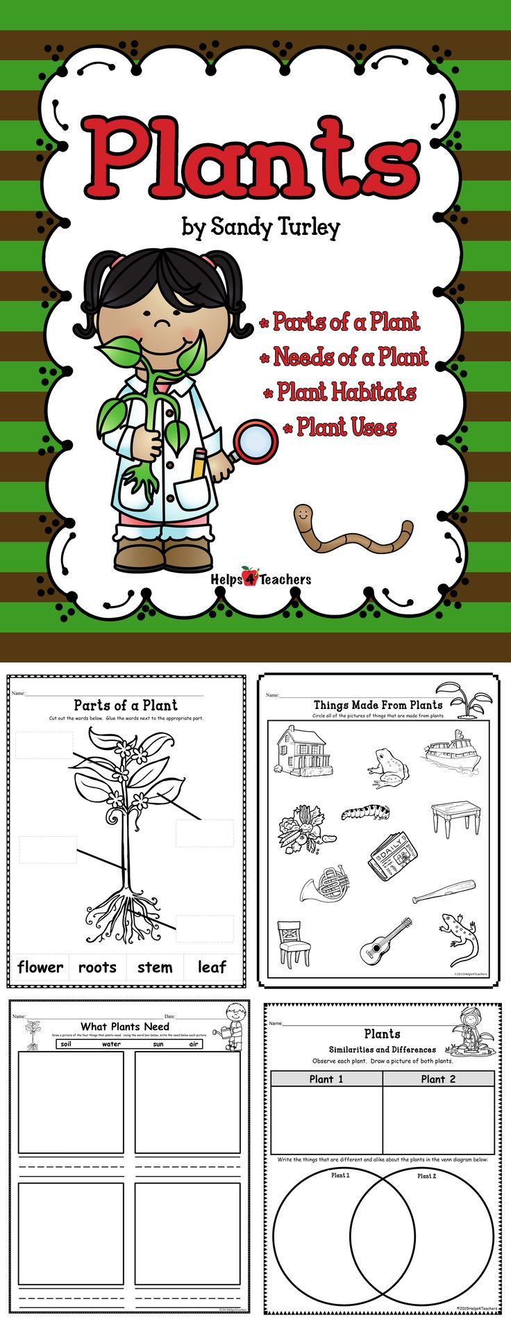 $ AWESOME! 8 pages. This packet includes 8 activity pages that will enhance the teaching of the following plant topics: - Things Made From Plants - Needs of a Plant - Parts of a Plant - Jobs of the Parts of a Plant - Where Plants are Found (Plant habitats) - Foods That Come From Plants - Observation of Two Plants: Similarities and Differences