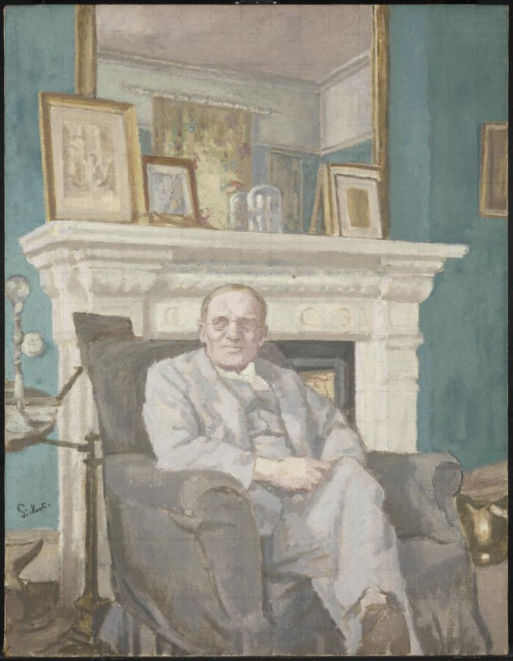 Sir Alec Martin, KBE (1935) by Walter Richard Sickert. Martin was managing director of Christie's and friend of Sickert. He remembered sitting for the artist in one of the rooms of in Sickert's home near Broadstairs in Ken but, unlike his wife and son, he did not recall a photograph having been taken of him. The composition of the painting seems to confirm a photographic source. It seems likely therefore that a reference snapshot was taken of Martin by Sickert's wife.