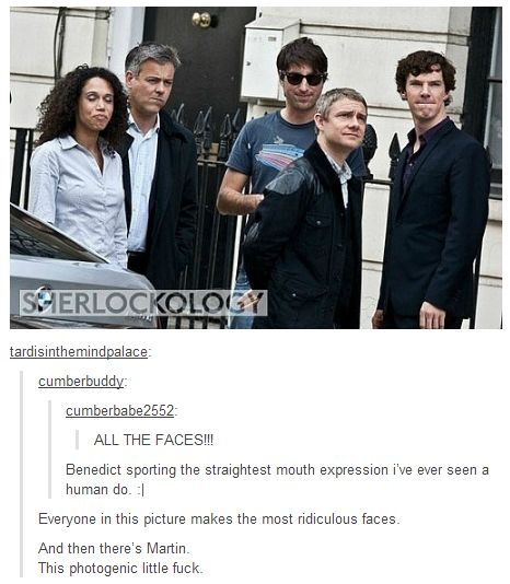 """XD I like Benedict's face, but ...oh gosh, I don't know Lestade's real name! But his facial expression is awesome. XD """"Not my division."""" XD"""