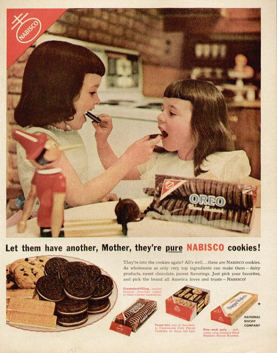 """""""Let them have another, Mother, they're pure NABISCO cookies!"""" - 1953 ad : vintageads"""