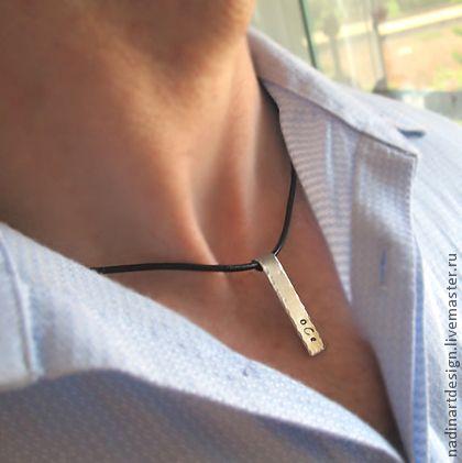 Стильное Мужское Ожерелье, Кожаное Ожерелье с  Именным Жетоном Чокер.