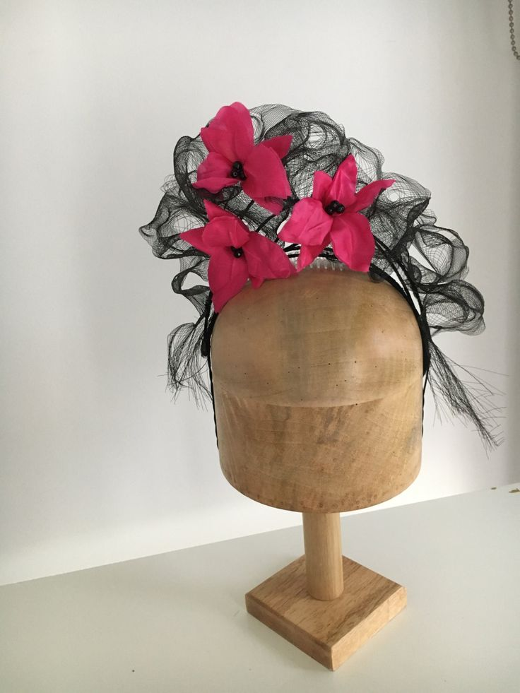 Hot pink silk orchids on a cloud of black crin… by RachelHenryMillinery on Etsy