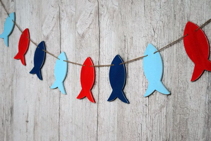 Wooden fish garland Nautical birthday decorations Fishing banner Nautical baby shower Fishing party decor Custom colors by WoodStreets on Etsy