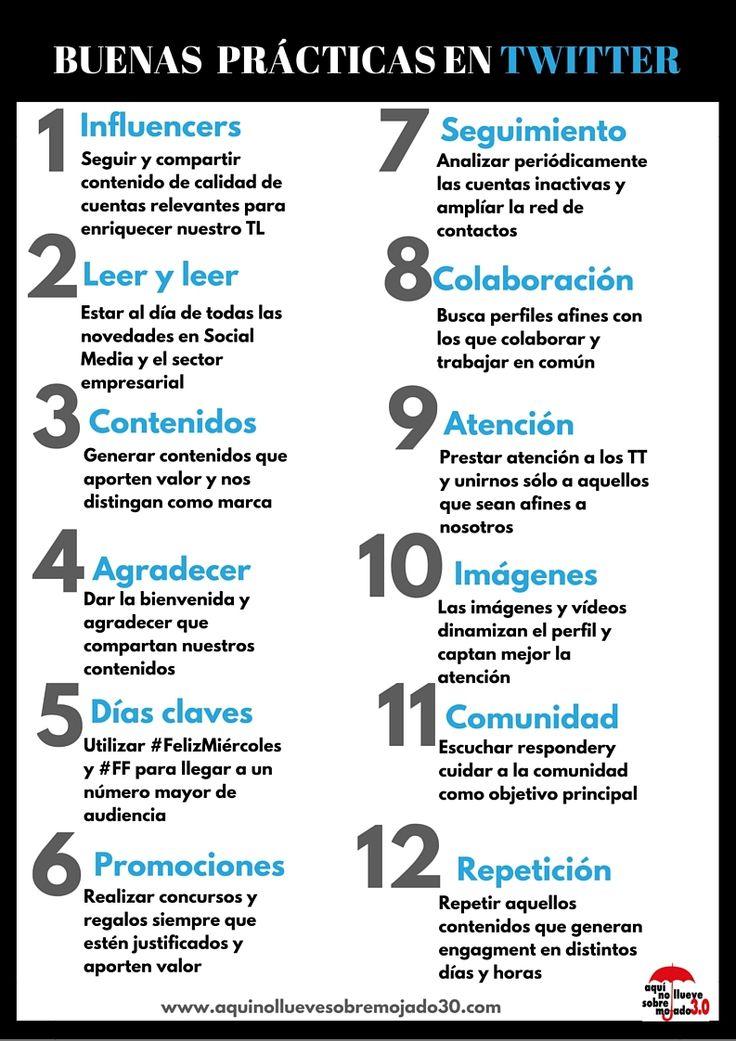 12 BUENAS PRÁCTICAS EN TWITTER #INFOGRAFIA #INFOGRAPHIC #SOCIALMEDIA