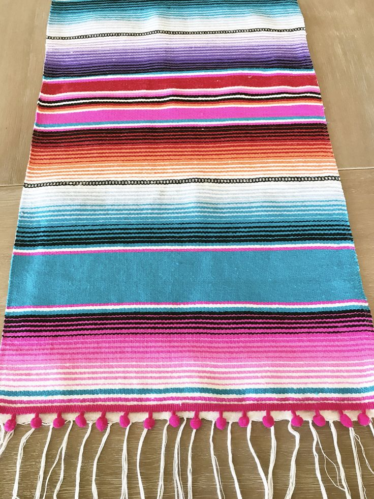 Mexican blanket Serape table runner, bright colorful turquoise, Southwestern decor, Fiesta decorations, striped rainbow, pompoms OPTIONAL by MesaChic on Etsy https://www.etsy.com/listing/464779411/mexican-blanket-serape-table-runner