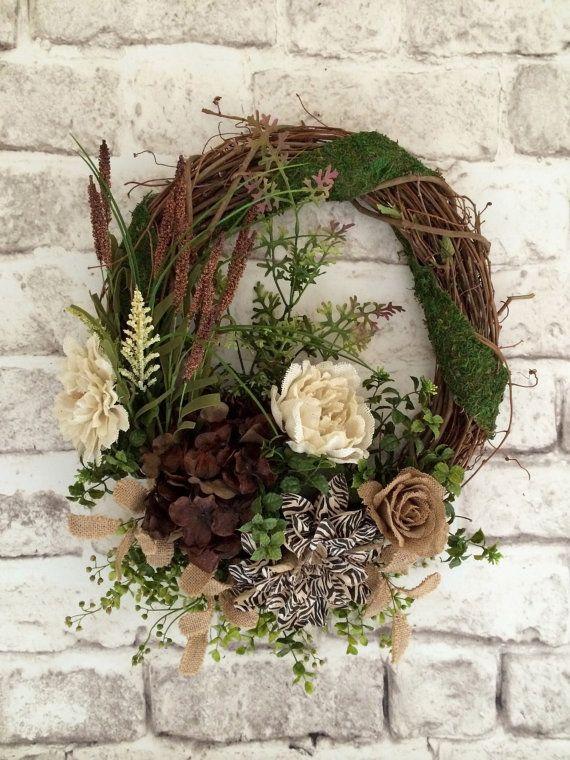 Neutral Silk Floral Wreath, Front Door Wreath, Spring Wreath, Outdoor Wreath…
