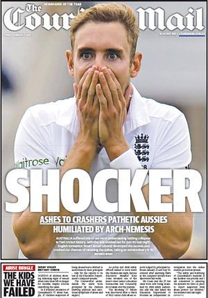 LOL. Australia crash and go up in flames. All out even before lunch on 1st day on 4 Ashes test at Trent Bridge. The only fourth time in history such a thing has happened. Australia's first innings is shortest in test history. It included the earliest fall ever of 4th, 5th and 6th wickets in test history. Broad's figures of 8-15 was England's third best ever in an Ashes test behind only Jim Laker's 9-37 and 10-53 at Trent Bridge in 1956.
