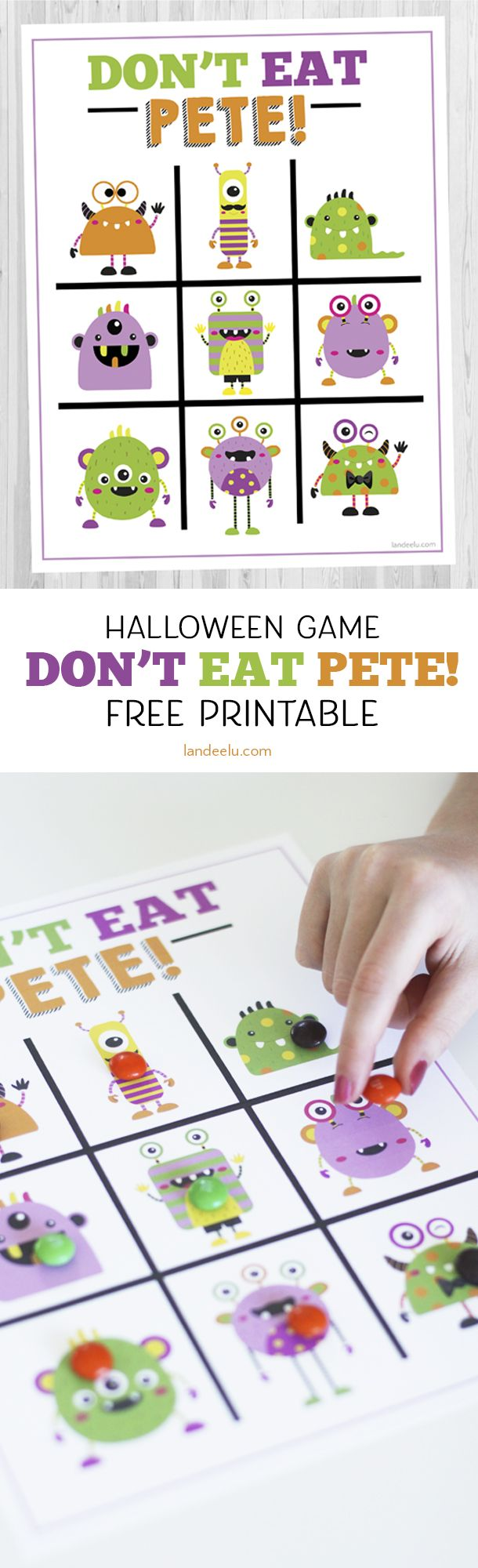 Are you looking for a fun Halloween game for kids? This cute monster version of Don't Eat Pete! will be a hit at your Halloween party this year!