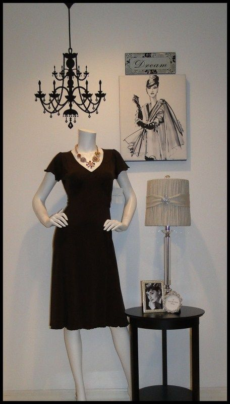 """TGtbT.com says: If you sell both decor items & clothing in your consignment shop, her's a simple way to let your display window show that. (Chandelier is a wallie!) 6 pcs decor, dress & accessories = """"we have it all, come on in!"""""""