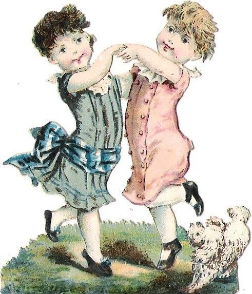 Oblaten Glanzbild scrap die cut chromo Kind child enfant couple Paar Hund dog