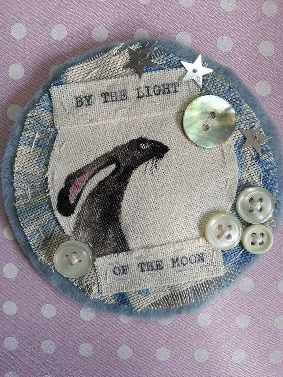Handmade hare brooch. by LaineyWhitworthArt on Etsy, £10.00  Gosh I LOVE THIS LADIES WORK   :)